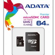 کارت حافظه microSDHC ای دیتا مدل premier کلاس 10 استاندارد UHS-I U1 سرعت 50MBps همراه با آداپتور SD ظرفیت 64 گیگابایت