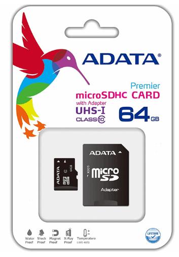 کارت حافظه microSDHC ای دیتا مدل premier کلاس ۱۰ استاندارد UHS-I U1 سرعت ۵۰MBps همراه با آداپتور SD ظرفیت ۶۴ گیگابایت