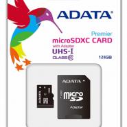 کارت حافظه microSDHC ای دیتا مدل premier کلاس 10 استاندارد UHS-I U1 سرعت 50MBps همراه با آداپتور SD ظرفیت 128 گیگابایت