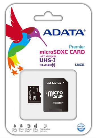 کارت حافظه microSDHC ای دیتا مدل premier کلاس ۱۰ استاندارد UHS-I U1 سرعت ۵۰MBps همراه با آداپتور SD ظرفیت ۱۲۸ گیگابایت