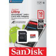 کارت حافظه microSDHC سن دیسک مدل Ultra A1 کلاس 10 استاندارد UHS-I U1 سرعت 98MBps ظرفیت 16 گیگابایت به همراه آداپتور SD