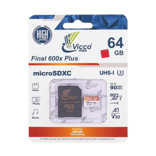 کارت حافظه ۶۴ گیگ ویکومن Vicco Final 600x Plus U3 A1 90MB